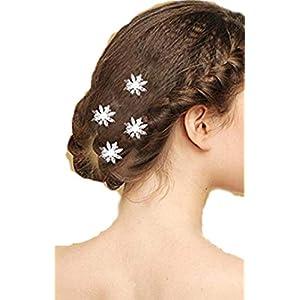 4 Stück Diademe Haarnadeln für Prinzessin hochwertige wunderschöne Stern Blumen Silber Haarspiralen Haar Curlies aus Perle und Strass, Braut Hochzeit Jugendweihe Haarnadel Haarschmuck Haarstecker