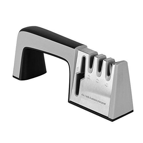 Cuchillo y tijeras 4 en 1 Afilador  cuchillo rápido de 5 segundos  afilado como nuevo