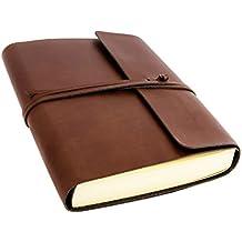 Vietri A5 mittelgroßes Notizbuch aus recyceltem Leder, Handgearbeitet in klassischem Italienischem Stil, Tagebuch A5, Lederbuch (15x21 cm) Braun