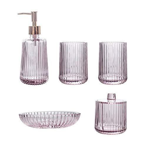 RKY Badzubehör eingestellt Glaspulver lila Mundwasser Tasse Lotion Flasche Toilettenartikel fünf Stück Bad-Accessoires / - /