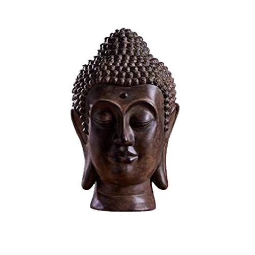 MLMHLMR Buddha-Statue thailändischer Buddha-Kopfschmucksachen Zen Buddha-Statue, Wohnzimmerveranda-Weinkabinetthandwerk Kunsthandwerk (Color : A)