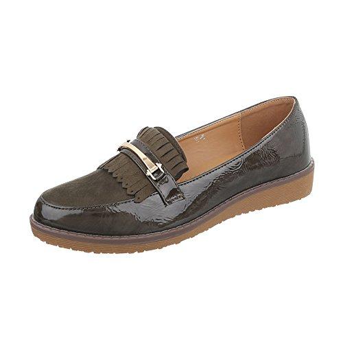 Ital-Design Scarpe da Donna Mocassini Piatto Slipper kaki W-6-1