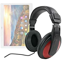DURAGADGET Auriculares De Diadema para Tablet ibowin M130 - Negro Y Rojo - con Cable de