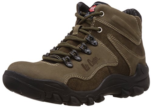 Lee Cooper Men's Olive Leather Trekking and Hiking Boots - 9 UK