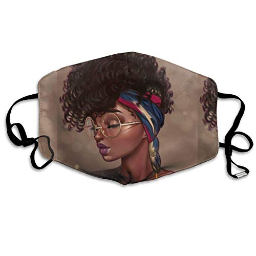 WBinHua Masken für Erwachsene, Mask Face, Mouth Mask, Breathable Mask Anti Dust, Unisex African American Black Woman Printed Cotton Mouth-Masks Face Mask Polyester Anti-dust Masks