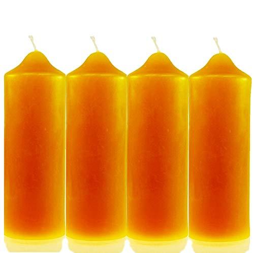 Naturprodukte-MV 4 STK. Kerzenstumpen (160/55mm) 100% Bienenwachs Bienenwachskerze Stumpen