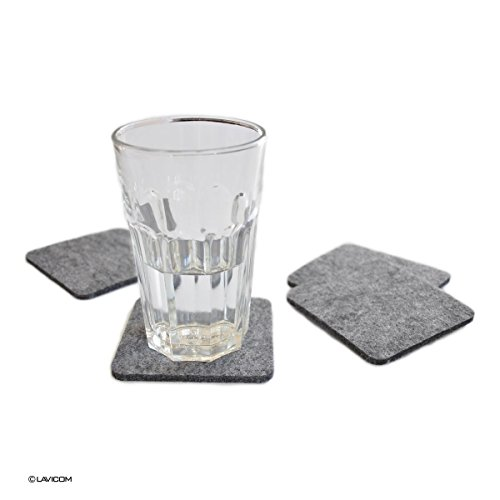 LAVICOM 8 Glasuntersetzer quadratisch Filz Untersetzer grau meliert
