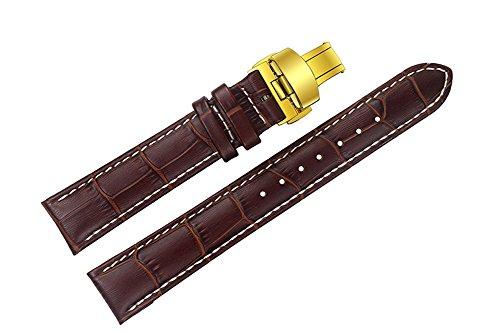 18 mm cinturini in pelle di lusso sostituzione marrone / fasce a mano con cuciture bianche per la fascia alta orologi con chiusura di distribuzione tono oro - Oro Prova