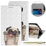 Kompatibel mit Lederhülle Galaxy S9 Bunt Ledertasche Handytasche Flip Case Retro Luxus Glitzer Bling Glänzend Leder Hülle Handy Schutzhülle Klapphülle Handyhülle,Hund