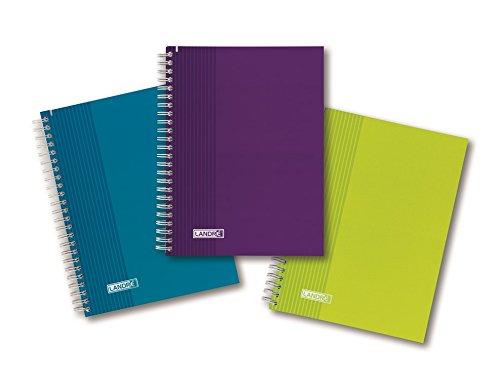 LANDRE 400043996 Collegeblock Trend Colour 5er Pack A5 70 g/m² 80 Blatt gelocht kariert mit Rand Schreibblock Notizblock Briefblock Schulblock