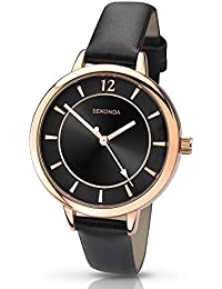 Sekonda Women's Quartz Watch with Black Dial Analogue Display and Black PU Strap 2138.27