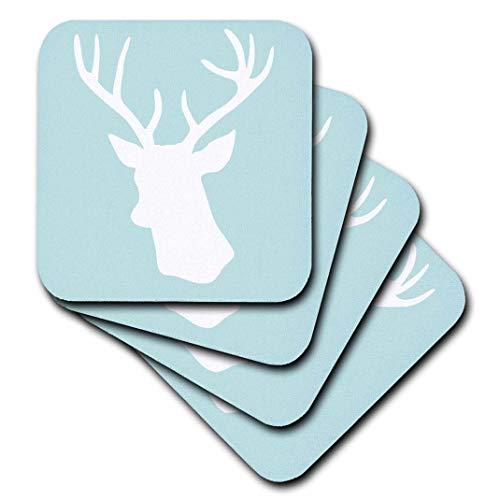 3dRose CST 155672InspirationzStore Deer Designs-weiß Hirschkopf Silhouette auf Mint Blau-Hirsch Geweih-stilvoll Modern Pastell-Türkis Teal Aqua-Untersetzer, Gummi, grün, set-of-8-Soft -