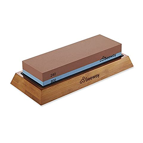 Whetstone, Beeway® Professional Knife Sharpening Stone, Sharpener with Non-slip Bamboo Base, 2 Sided Grit Whetstones 240/800 Perfect for Chef, Kitchen, Pocket Knives and