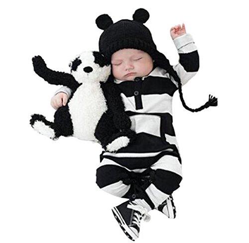 Covermason Baby Jungen Mädchen Baumwolle Romper Strampler Jumpsuit Bodysuit Kleidung (70, Schwarz)