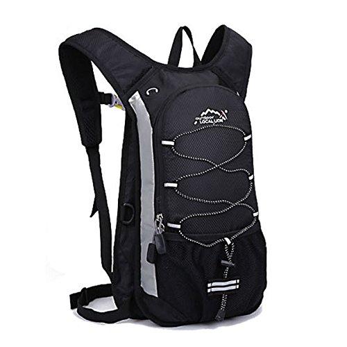 AISI wasserdichten Nylon leicht reflektierendem Rucksäcke Radsport Hydration Packungen mit 2.0L Trinkblase Tasche für Radfahren, Laufen und Wandern Schwarz