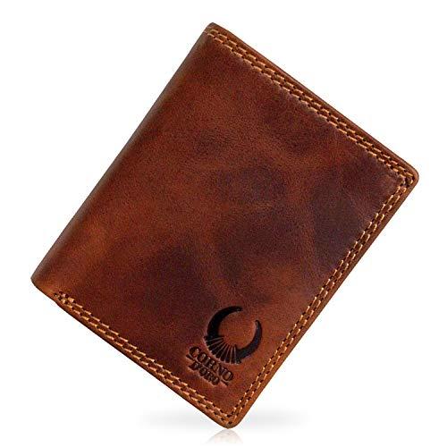 Geldbörse Herren Leder mit TÜV-zertifiziertem RFID Schutz schlankes Portemonnaie Brieftasche Vintage Geldbeutel mit Münzfach Wallet in Geschenk-Box Echt-Leder Kartenetui braun Corno d´Oro 32010NC -
