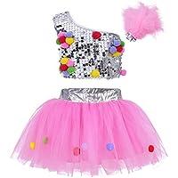 TiaoBug 3Pcs Vestuario de Espectáculo de Danza Ballet Niñas Vestido Brillo con Lentejuelas Escenario de Etapa para Niñas 2-10 Años