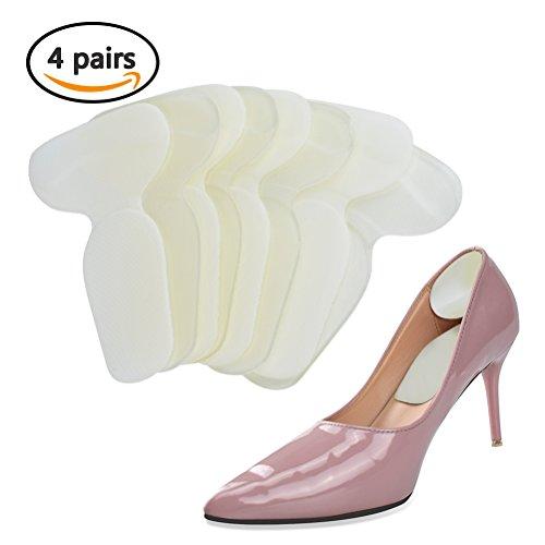 TIMESETL 4 Paar Fersenpolster 2-in1 Schuhe Einlegesohlen Fersenschutz T-Form Fersenhalter Hacke Schutzpolster Fersenkissen für Damen und Herren