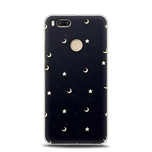 Funda for Xiaomi Mi 5X, Aksuo Funda Bumper con Absorción de Impactos y Anti-Arañazos Espalda para TPU Funda Anti-Rasguño Anti-Golpes Cover Protectora Transparente Claro TPU Caso Bumper Slim Silicona Case Para Protectora Funda - Estrella lunar