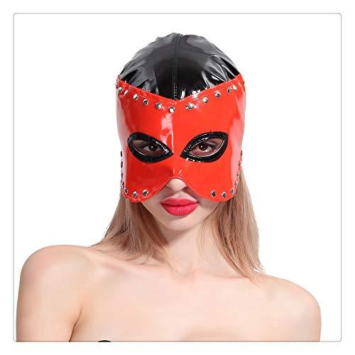 Z-one Gesichtsmaske mit 1 Augenpartie, sexy Catwoman, Halloween-Kostüme für Halloween, Maskerade, Party, Ball, Zubehör (rot)
