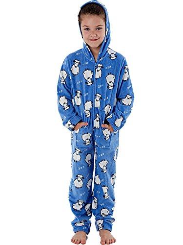 3bf39adf33 Selena Girl - Pijama de una pieza - Manga Larga - para niña Azul Blue Sheep