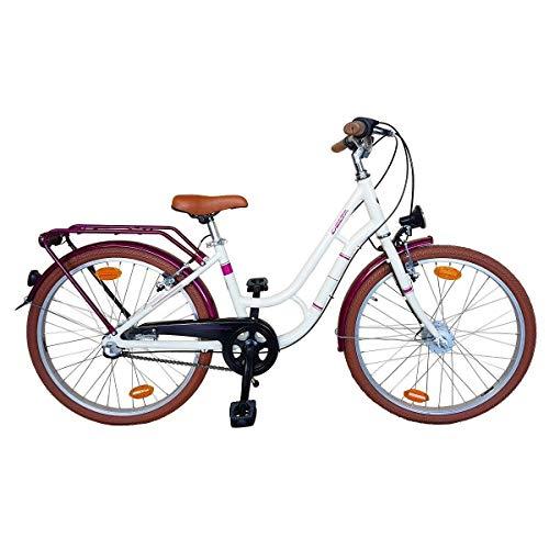 Delta Bike 20 Zoll Mädchenfahrrad Alu Cremeweiss-Lila Shimano 3 Gang Nabenschaltung, STVO