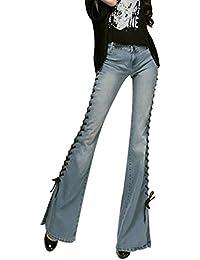 Mena Uk Femme 60's Vintage's Low Waist Slits Slim Cross-Tether Straps Jeans