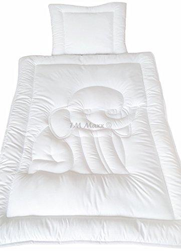 TM MAXX Babyset Kinderdecke Bettdecke Baby Set Steppbett und Kissen • Decke 100x135cm • Kissen 40x60cm • 4 wunderschöne Motive zur Auswahl (Elefant) - Feder-bettdecke Set