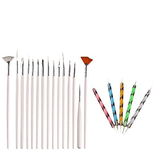 Preisvergleich Produktbild Tonsee Mode 20pcs Nagelbürste bail art design Malerei Punktierung Detaillierung Stiftbürsten bündeln Werkzeugkasten gesetzte Nagel Styling Tools