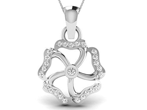 Or Blanc 9 ct Pendentifs Diamant en forme de Fleur, 0.14 Ct Diamant, GH-SI, 0.67 grammes.