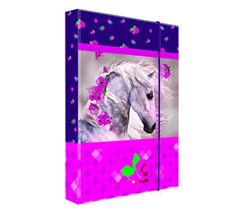 Heftordner / Ordner A4 - ' Pferd ' - für Hefte, Zettel und Mappen - Gummizugmappe & Heftmappe - Mappe Ordnermappe / Ordnungsmappe Hefter Heftbox - A 4 - Kinder / Pferde - Jungen & Mädchen