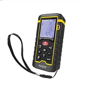 FIXKIT Misuratore di Distanza Laser con Gamma Max 60m, Schermo LCD con Retroilluminazione, per Misurare Distanza, Area e Volume come Stanze, Edifici, Fabbriche, Magazzini, ecc.