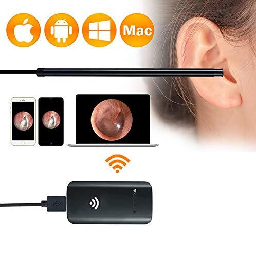 Otoscopes Mini-Otoskop, USB-Ohr-Otoskop-Inspektionskamera mit 6 LED-Leuchten Drahtloser visueller WiFi-Ohrlöffel -