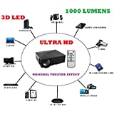 Portable LED Projector HDMI/VGA/AV/SD Input Home Projectors For Video Games 1000 Lumens For Cinema/Entertainment GM60