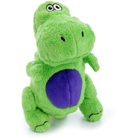goDog Dinos T-Rex Tough Plush Dog Toy with Chew Guard Technology, Green, Small by goDog