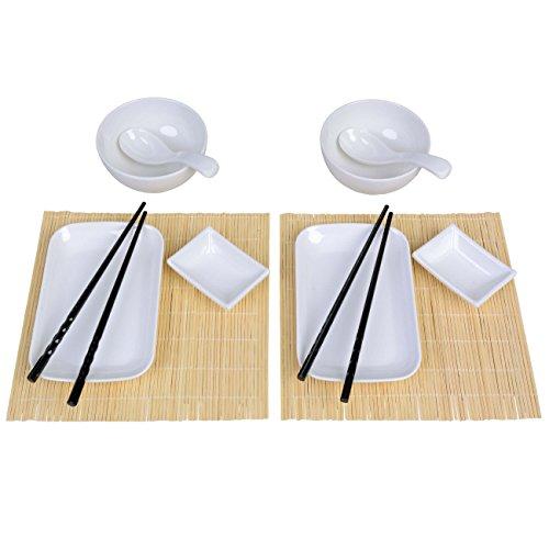 GRÄWE Asia Sushi-Set für 2 Personen, 14-teilig - 2 Suppen-/Reisschalen, 2 Soßen-Schälchen, 2 Servier-Schalen, 2 Bambus-Rollmatten, 2 Asia-Löffel, 4 Essstäbchen