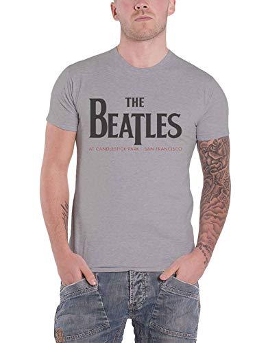 The Beatles T Shirt Candlestick Park Back Print Band Logo offiziell Herren Grau - Candlestick Park Poster