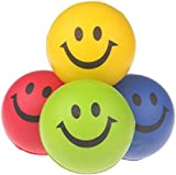 12pcs/pack Happy Smile Face Bouncy Relaxable Squeeze Ball Stress Relief Toy Random Color