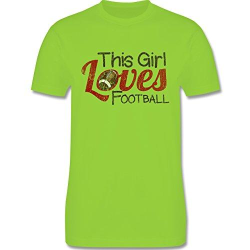 Football - This Girl loves Football - Vintage look - L190 Herren Premium Rundhals T-Shirt Hellgrün