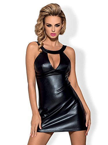 Obsessive verführerisches Dessous-Set aus niedlichem Wet-Look Kleid und String, schwarz, Gr. L/XL (Slip-dessous-kleid)