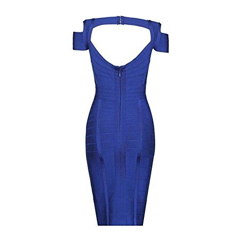 HLBandage Word Shoulder Straps V Neck Striped Bandage Dress Bleu