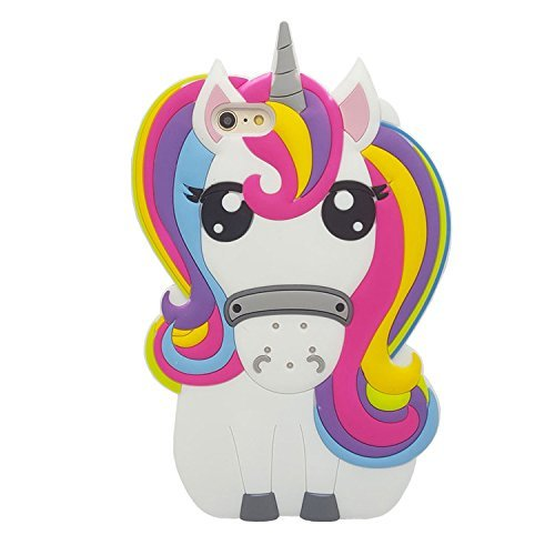 iPhone 4 4S Fall, Anya 3D Cute Bow Superhero Serie Style Cartoon Soft Gummi Silikon Back Shell Case Cover Skin für Apple iPhone 4 4S, Rainbow Unicorn