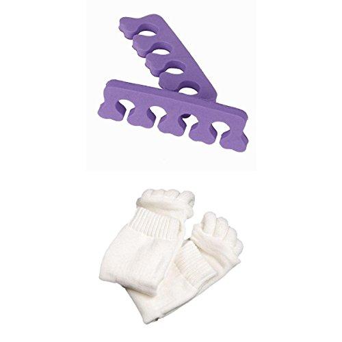 Chaussettes de Massage à 5 Orteils et Séparateurs d'orteils Souple pour Pédicure