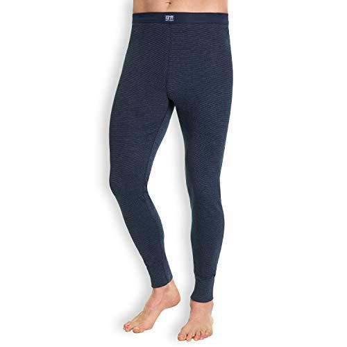 KUMPF BODY FASHION Herren Pants Feinripp I Funktionshose aus Baumwolle & Polyester I Atmungsaktiv + Klimaregulierend I Lange Unterhose Blau I Gr. XL (7)