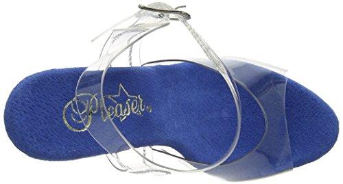 Pleaser Damen Adore-708lg Offene Sandalen Clr/Blue Holo Glitter