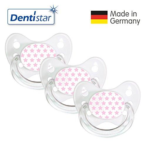 Dentistar® Schnuller 3er Set Nuckel Silikon in Größe 1, 0-6 Monate - zahnfreundlich & kiefergerecht - Beruhigungssauger für Babys – Sterne Rosa Weiß