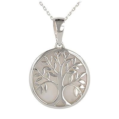 idée cadeau anniversaire maman-Cadeau bijoux symbole Arbre de vie-Pendentif - Nacre blanche- Argent massif-rond-unisexe