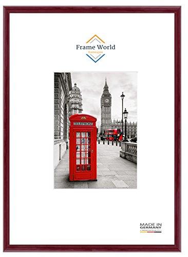 FW23 Echtholz Bilderrahmen DIN A4 für 21 cm x 29,7 cm Bilder, Farbe: Bordeaux Rot Hochglanz, inkl. entspiegeltem Acrylglas (Antireflex), Rahmen Breite: 23 mm, Aussenmaß: 24,4 cm x 33,1 cm