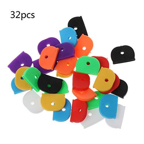 Keahup Kofun Schlüsselanhänger, 32 Stück, Schlüsselkappen, Etiketten, ID aus Silikon, Farbkennzeichnung, 8 Farben