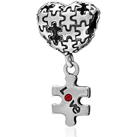 New Puzzle Piece Autism Heart Love Charm Dangle 925 Sterling Silver with Red Birthstone Crystal Beads Fits Pandora Charms Bracelet Jewelry by fit pandora style Bracelet